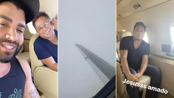 Leonardo e Gusttavo Lima passam por apuros durante voo