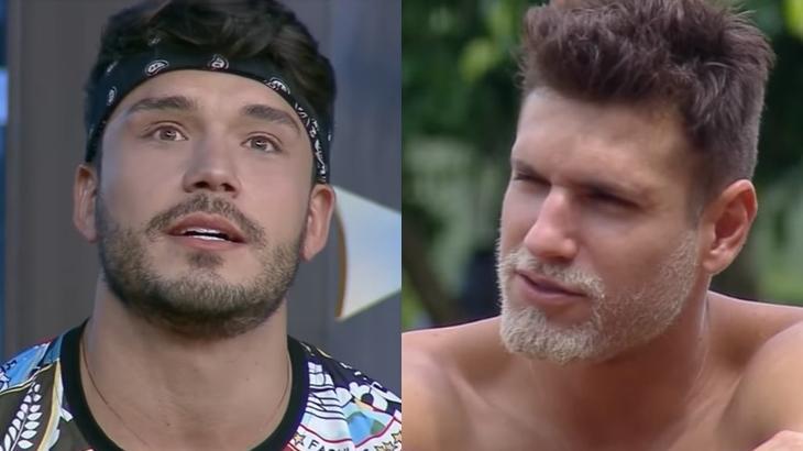 Lucas Viana e Guilherme Leão durante o reality show A Fazenda 2019 (Reprodução/Montagem)