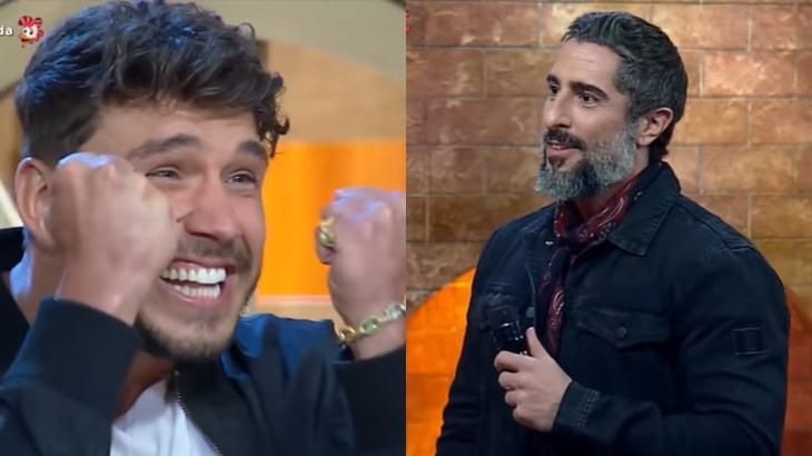 Lucas Viana e Marcos Mion durante anúncio no reality show A Fazenda 2019 (Reprodução/Montagem)