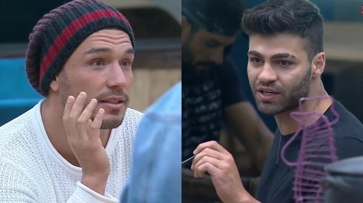 Lucas Viana e Netto Rodrigues durante o reality show A Fazenda 2019 (Reprodução/Montagem)