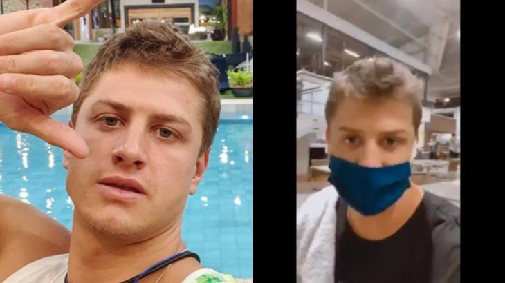 Lucas Gallina, do BBB20, recebeu críticas por ir à academia em meio à pandemia do coronavírus - Foto: Montagem NT