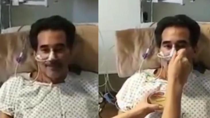 Luciano Szafir sendo alimentado no hospital