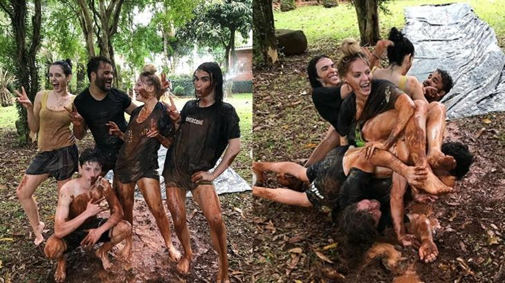 Luísa Sonza toma banho de lama com amigos e comemora: