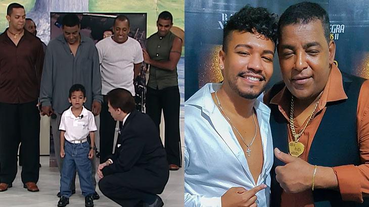 Luis Sales com o Raça Negra, no SBT, em 2000; à direita, rapaz reencontra o vocalista, Luiz Carlos, em show