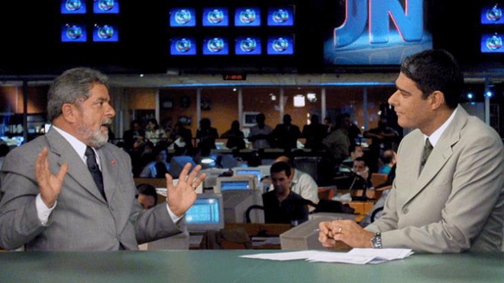 Lula no Jornal Nacional em 2002 com William Bonner