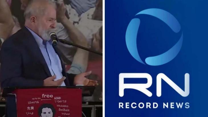 Lula discursando sobre absolvição e o logo da Record News