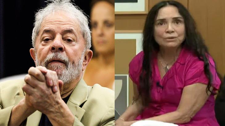 Lula com mãos juntas, esperançoso; Regina Duarte descontente