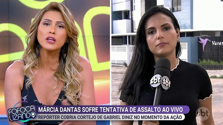 Lívia Andrade ficou revoltada com a situação, enquanto repórter precisou se acalmar - Reprodução
