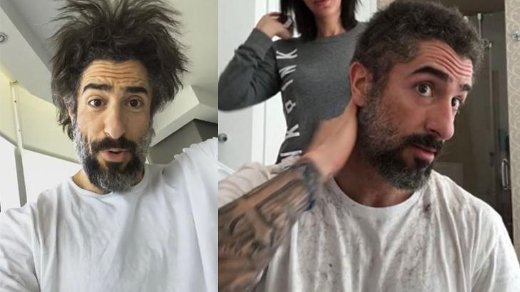 Marcos Mion corta o cabelo e Juju Salimeni brinca: