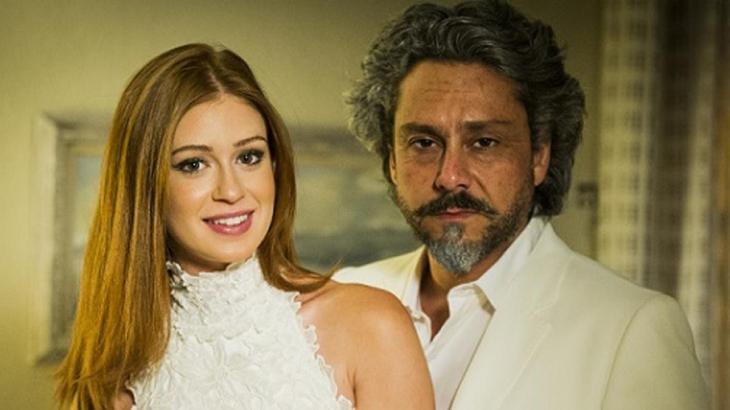 Marina Ruy Barbosa e Alexandre Nero como Maria Ísis e o Comendador na novela Império, da Globo