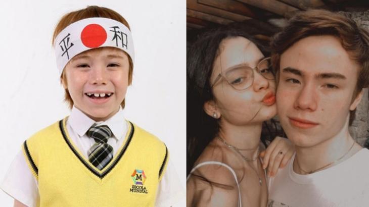 À esquerda, Matheus Ueta aos 8 anos, em Carrossel; à direita, aos 16, ao lado da namorada Ana Paula Ferro