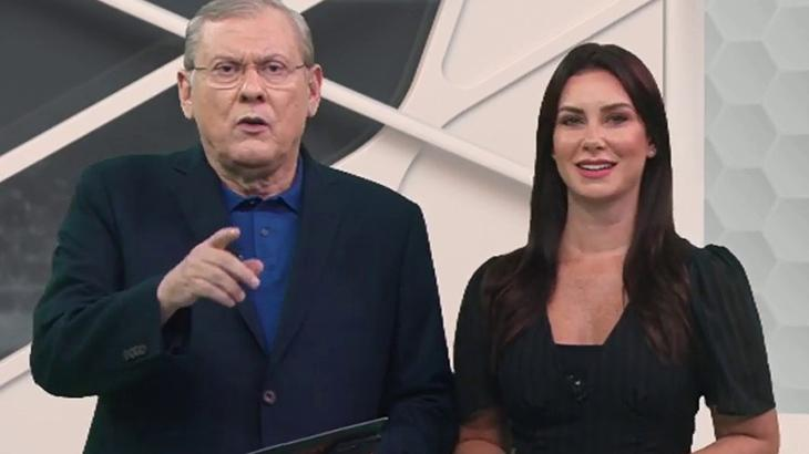 Milton Neves e Larissa Erthal no 3º Tempo