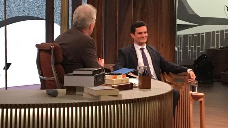 Pedro Bial em entrevista com Sérgio Moro - Foto: Reprodução