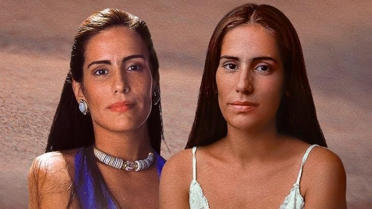 Gloria Pires como as gêmeas Raquel e Ruth na novela Mulheres de Areia