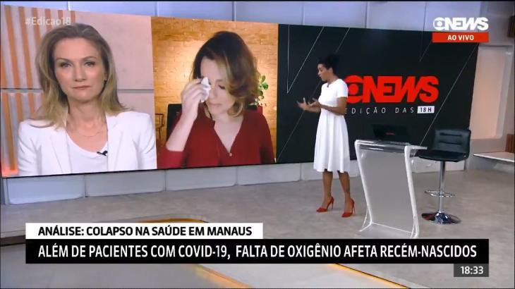 Natuza Nery chora ao vivo na GloboNews com situação de Manaus