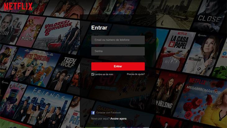 Tela de login da Netflix no computador. Você empresta sua senha?