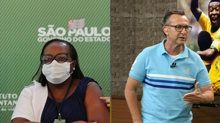 """Neto comemora vacina e promete presente para enfermeira: """"Você é uma história viva"""""""