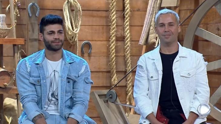 Viny Vieira e Netto Rodrigues estiveram na 9ª roça no reality show A Fazenda  2019 (Reprodução)