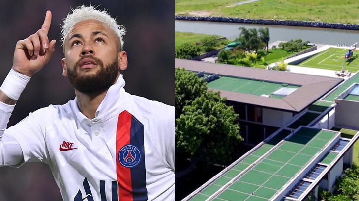 Motagem de Neymar em jogo, com dedo levantado, olhando para cima e, ao lado, mansão em Mangaratiba