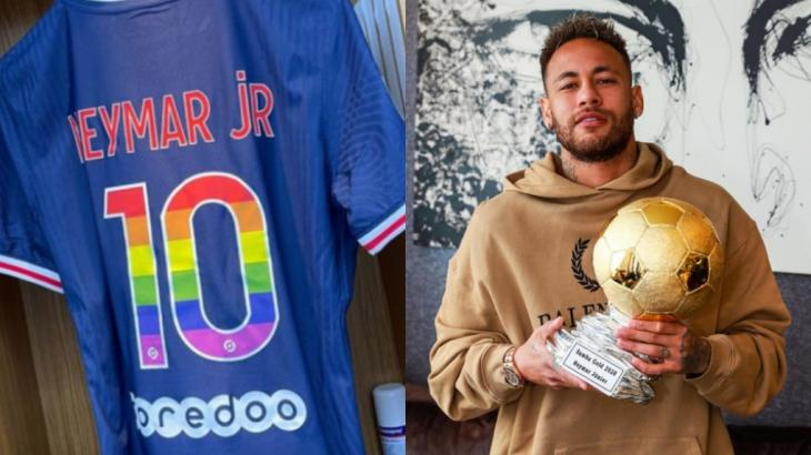 Neymar exibe sua Camisa 10 personalizada com o número colorido pelas sete cores do arco-íris