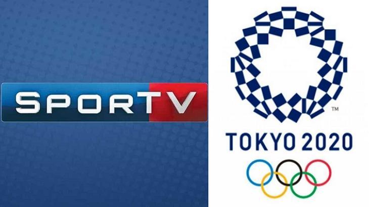 Logotipo SporTV (à esquerda) e logotipo das Olimpíadas de Tokyo (à direita) em foto montagem