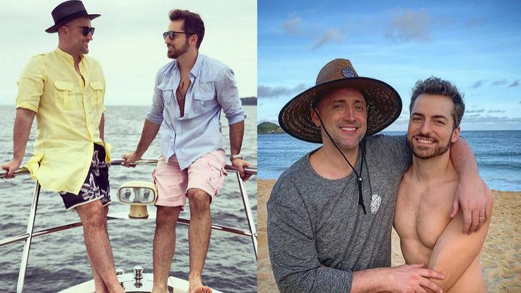 Paulo Gustavo em viagem com seu marido Thales Bretas