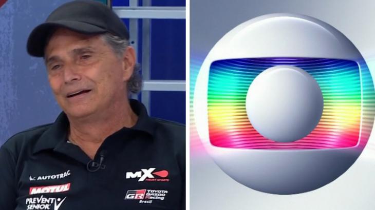 Nelson Piquet e o logo da Globo