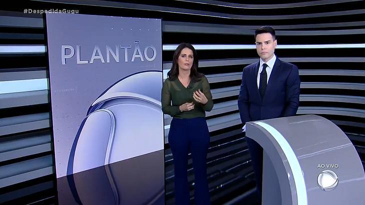 Luiz Bacci e Adriana Araújo no Plantão Record - Foto: Reprodução/Record