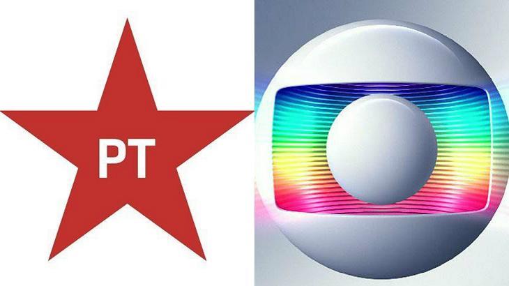 Foto montagem do PT e da Globo