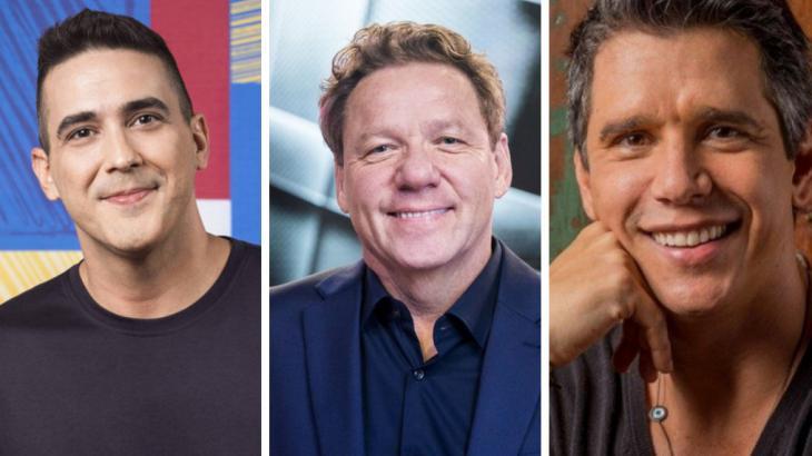 André Marques, Claude Troisgros e Márcio Garcia em montagem