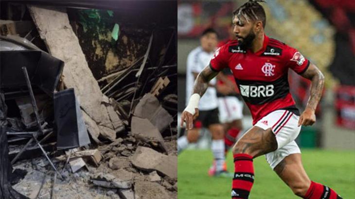 Teto caído da Record Rio (à esquerda) e o Gabigol (à direita) em foto montagem