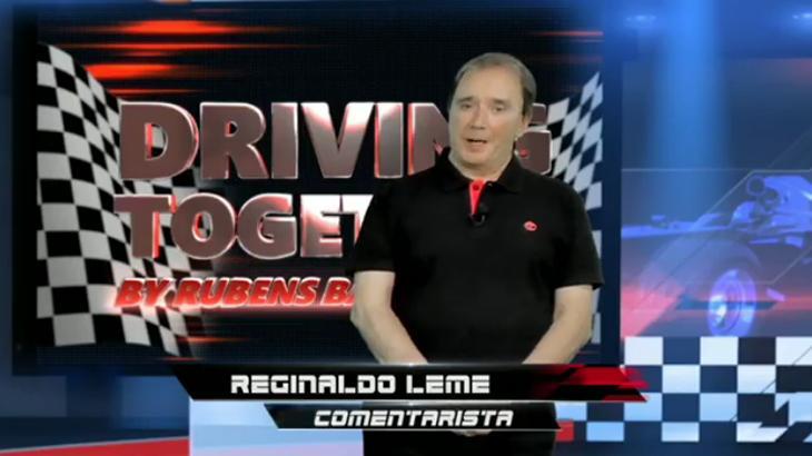 Band exibe corrida virtual de Barrichello com ídolos do automobilismo e Reginaldo Leme