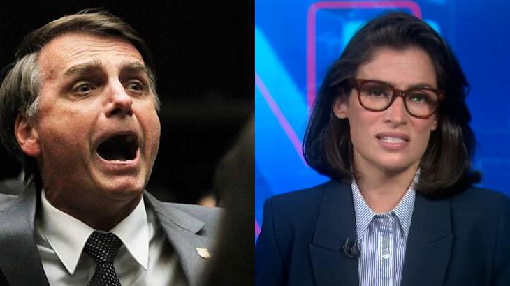 Bolsonaro irritado; Renata Vasconcellos durante o Jornal Nacional