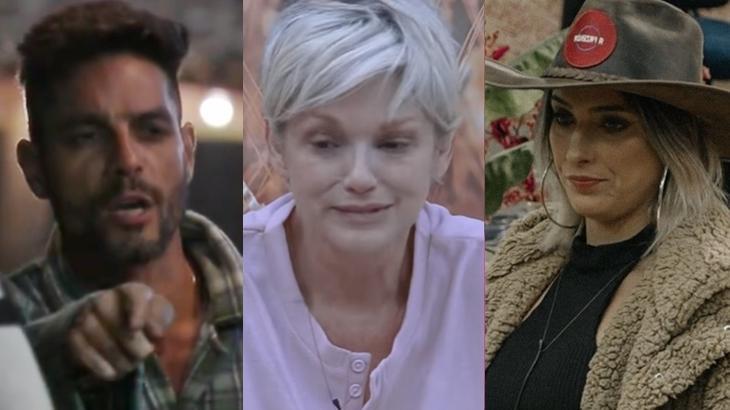 Diego Grossi, Andréa Nóbrega e Tati Dias em A Fazenda 11 (Reprodução/Montagem)
