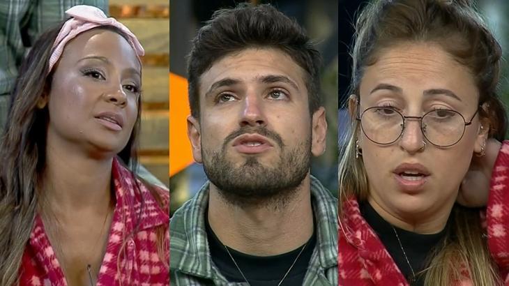"""Drika Marinho, Guilherme Leão e Bifão na Roça em """"A Fazenda 11"""" (Reprodução/Montagem)"""