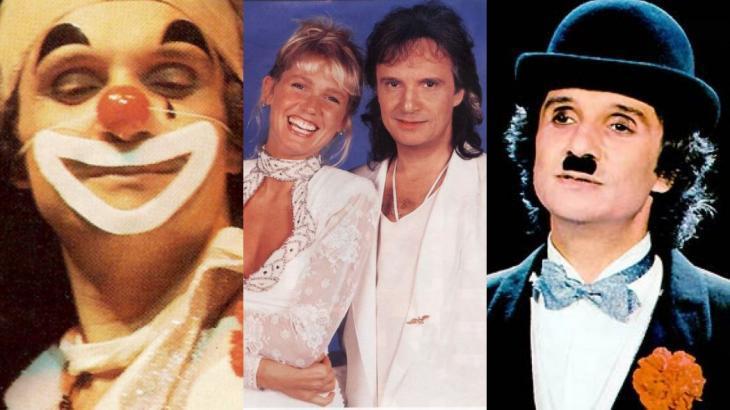 Em show anual para a Globo, Roberto Carlos já se vestiu de palhaço e homenageou Charles Chaplin - Foto: Montagem/NaTelinha