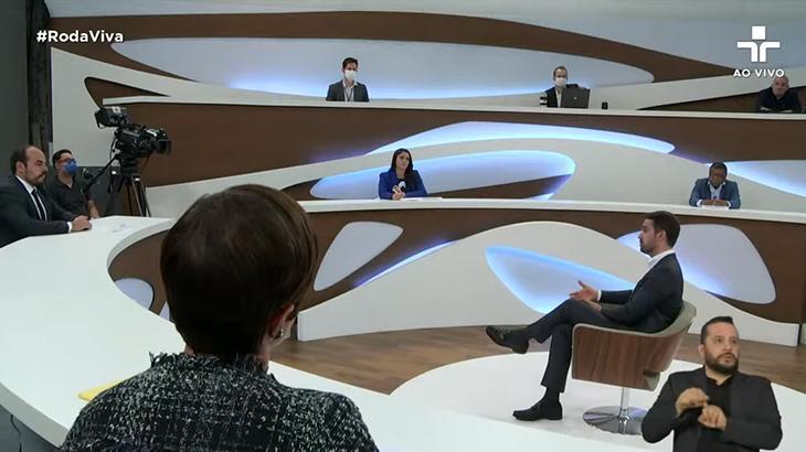 Roda Viva com Eduardo Leite, governador do Rio Grande do Sul (Foto: Reprodução/TV Cultura)
