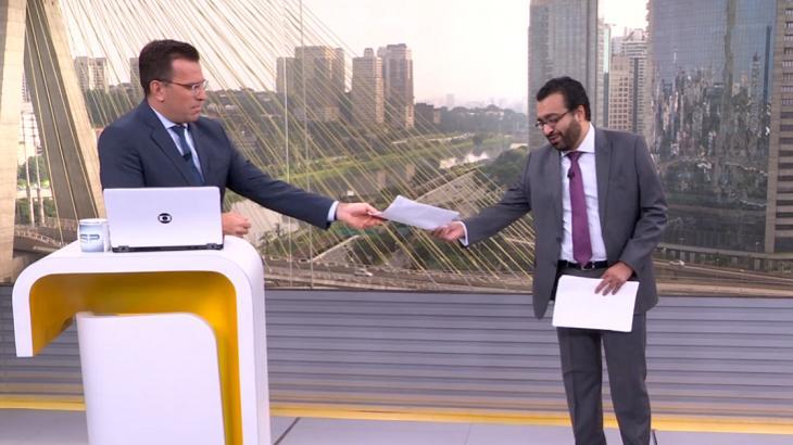 Bocardi se surpreende com convidado que tenta dar furo de reportagem ao vivo no Bom Dia SP
