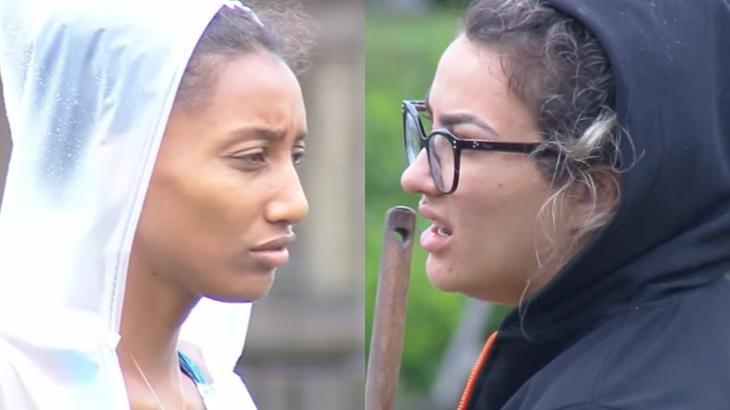 Sabrina Paiva e Thayse Teixeira durante o reality show A Fazenda 2019 (Reprodução/Montagem)