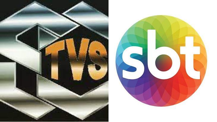 Logotipo da TVS (à esquerda) e do SBT (à direita) em foto montagem