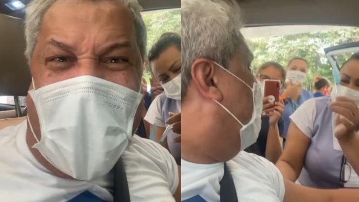 Dentro de carro, Sikêra Jr. recebe a vacina contra a Covid-19