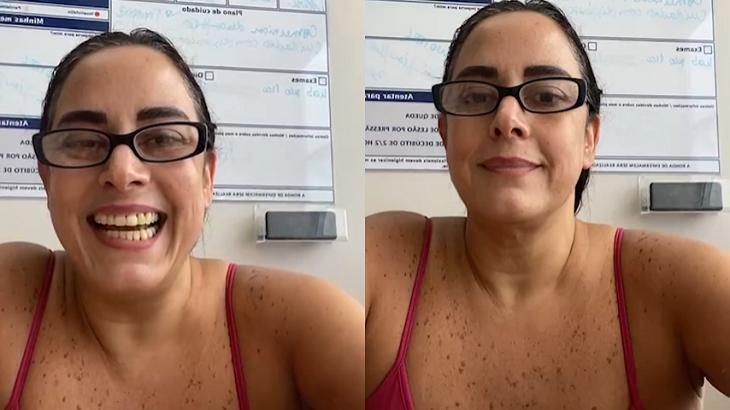 Silvia Abravanel sorrindo após receber alta do hospital