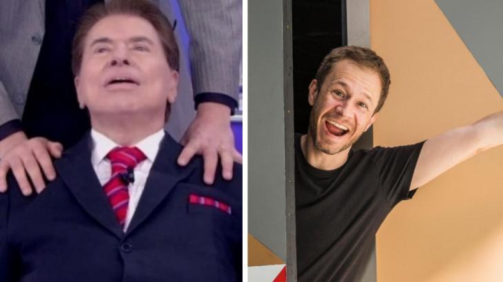 Silvio Santos hipnotizado e Tiago Leifert alegre