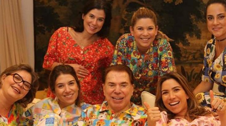 Silvio Santos e suas seis filhas: Cinthia, Silvia, Daniela, Patrícia, Rebeca e Renata