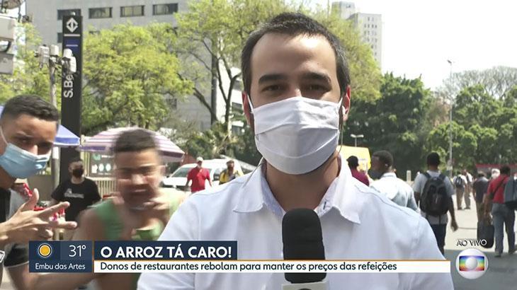 Repórter Guilherme Pimentel é atrapalhado ao vivo