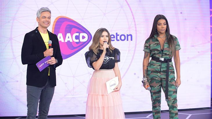 Otaviano Costa, Maisa e Ludmilla participaram do Teleton 2019 na tarde deste sábado - Divulgação/SBT