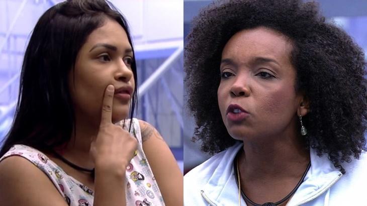 Thelma não está concordando com o jogo feito por Flayslane no BBB20 - Foto: Globo/Montagem