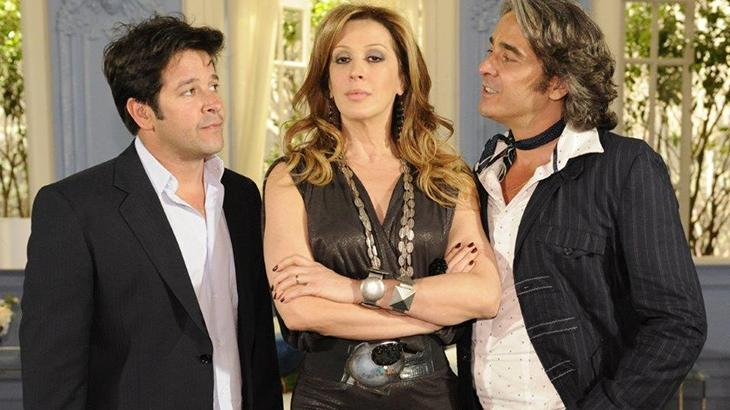 Murilo Benício, Cláudia Raia e Alexandre Borges em cena da novela Ti Ti Ti
