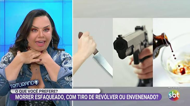 Flor finge estar envenenada no Triturando, programa do SBT