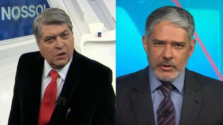 Datena sério no Brasil Urgente; William Bonner de barba no Jornal Nacional